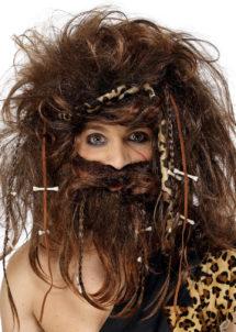 perruque homme des cavernes, perruque préhistorique, perruque cromagnon, perruque avec barbe, perruque caveman, Perruque d'Homme des Cavernes, Crazy Caveman, avec Barbe