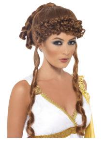 perruque romaine, perruque grecque, perruque déesse romaine, perruque antiquité, perruque greco romaine, Perruque Déesse Romaine et Grecque, Hélène de Troie, Châtain