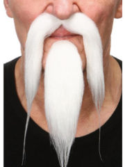 fausses moustaches, postiche, moustache postiche, fausses moustaches réalistes, fausse moustache de déguisement, moustache asiatique, moustache avec bouc, moustache de chinois, moustache blanche Moustache et Bouc de Chinois, Luxe, Blanche
