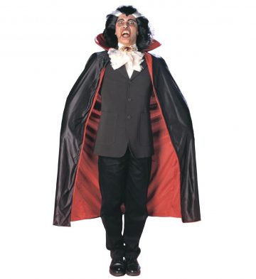 cape noire et rouge halloween, cape de vampire halloween, cape réversible rouge et noire, cape noire et rouge halloween adulte, cape adulte halloween, accessoire halloween Cape Noire et Rouge, Réversible, avec Colerette