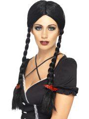 perruque pour femme, perruque brune, perruque noire, acheter perruque femme à paris, perruque de déguisement, perruque pas cher, perruque halloween, accessoire halloween, perruque écolière, perruque famille adams déguisement Perruque Gothique School Girl, Noire