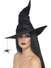 chapeau de sorcière, chapeaux de sorcières, chapeaux halloween, accessoires déguisements de sorcière, accessoire sorcière halloween, accessoire halloween, accessoire chapeau halloween Chapeau de Sorcière, Araignée Suspendue, Velours Noir