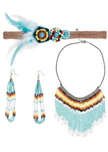 collier indien perles déguisement, collier indien perles, accessoires d'indien, collier de déguisement, accessoires indienne pas cher, bijoux indiens, faux bijoux pour indiens, collier indien déguisement, collier déguisement d'indien, plumes d'indiennes, coiffe indienne déguisement, Bandeau, Collier et Boucles d'Oreilles d'Indienne
