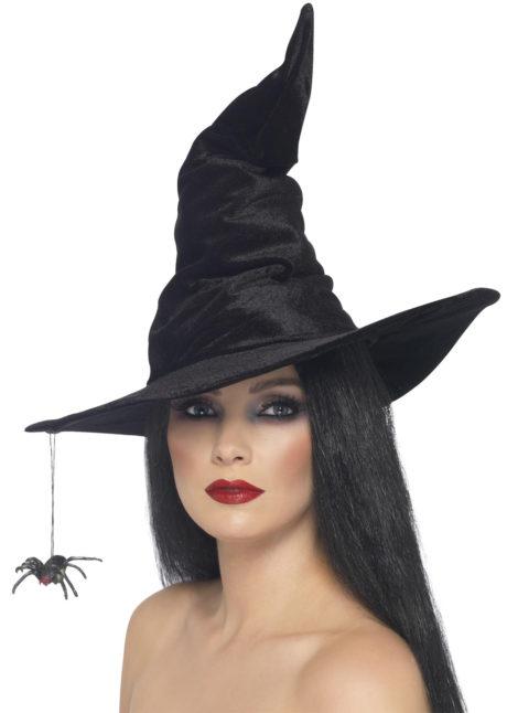 chapeau de sorcière, chapeaux de sorcières, chapeaux halloween, accessoires déguisements de sorcière, accessoire sorcière halloween, accessoire halloween, accessoire chapeau halloween, Chapeau de Sorcière, Araignée Suspendue, Velours Noir