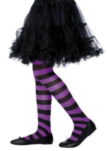 collant sorcière enfant, accessoire halloween, accessoire sorcière déguisement, accessoire collants fille, accessoire collants rayés enfant, accessoire sorcière déguisement enfant, Collant de Sorcière, Noirs et Violets, Enfant