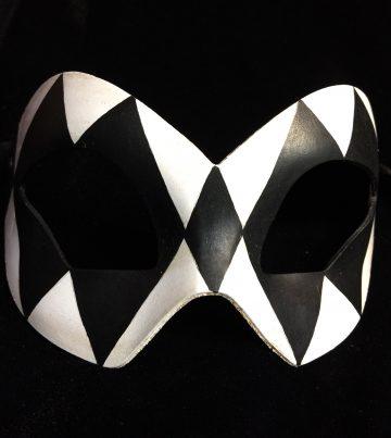 masque vénitien, loup vénitien, masque carnaval de venise, véritable masque vénitien, accessoire carnaval de venise, déguisement carnaval de venise, loup vénitien fait main Venitien, Arlecchino, Noir et Blanc