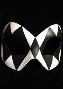 masque vénitien, loup vénitien, masque carnaval de venise, véritable masque vénitien, accessoire carnaval de venise, déguisement carnaval de venise, loup vénitien fait main, Venitien, Arlecchino, Noir et Blanc