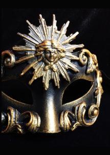 masque vénitien, loup vénitien, masque carnaval de venise, véritable masque vénitien, accessoire carnaval de venise, déguisement carnaval de venise, loup vénitien fait main, Vénitien, Barocco Sole, Noir