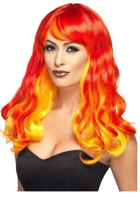 perruque femme, perruque diable femme, perruque halloween, accessoire halloween, accessoire diable halloween, accessoire costume de diable, perruque rouge femme, perruque pas cher paris, perruque femme paris, Perruque Devil Flamme, Rouge et Jaune