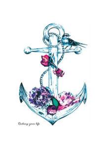 faux tatouages, faux tatouage ancre marine, tatouages temporaires, Tatouages Temporaires, Ancre Marine, Fleurs et Oiseau