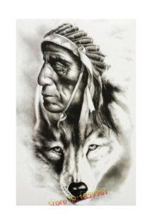 faux tatouages, faux tatouage indien, faux tatouage loup, tatouages temporaires, Tatouages Temporaires, Chef Indien et Tête de Loup