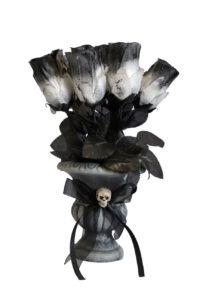 décoration halloween, vase halloween roses noires, décorations fleurs halloween, décoration gothique, accessoires décorations halloween, Bouquet de Roses Gothiques, avec Vase Noir