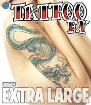 tatouage temporaire, faux tatouage, faux tatouage déguisement, faux tatouage halloween, maquillage halloween, faux tatouage blessures, faux tatouages effets spéciaux déguisement, tatouage biker déguisement, faux tatouage de dragon Tatouage Temporaire, Dragon, XL
