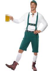 déguisement bavarois homme, costume bavarois homme, déguisement tyrolien homme, costume tyrolien homme, salopette bavaroise déguisement, déguisement homme, déguisement fête de la bière, déguisement oktoberferst Déguisement Bavarois Oktoberfest, Salopette Verte et Chemise