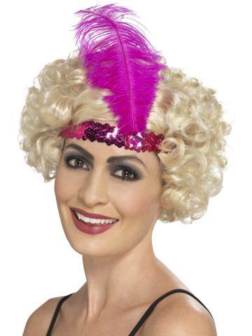 bandeau charleston rose, bandeau charleston, bandeau à plumes, accessoire déguisement, accessoire années 30, accessoire cabaret, bandeau charleston, bandeau années 30, bandeau années 20, déguisement charleston, accessoire déguisement charleston Bandeau Charleston, Rose