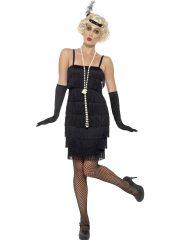 robe charleston déguisement, déguisement charleston, déguisement années 30, robe années 20, costume cabaret, déguisement cabaret femme, déguisement robe charleston Déguisement Charleston, Flapper Noir, Longueur 1