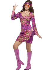 déguisement hippie femme, costume hippie femme, déguisement flower power femme, costume flower power femme, costume années 70 femme, déguisement années 70 femme, déguisement peace and love femme, costume femme hippie Déguisement Hippie Woodstock 70s