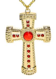 collier croix halloween, accessoire halloween, collier croix cardinal, collier croix curé, Collier Croix, Or et Pierres, Chaîne Dorée