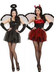 déguisement halloween femme, déguisement halloween à deux, déguisement couple halloween, déguisement d'ange noir, déguisement de diablesse, costumes halloween femme Diablesse et Ange Noir