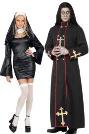 déguisement à deux, déguisement couple, déguisement halloween couple, déguisements halloween adulte, costume halloween adulte, déguisement halloween, déguisement religieux, déguisement couple religieux Déguisement Couple de Religieux, Nonne et Cardinal de la Mort