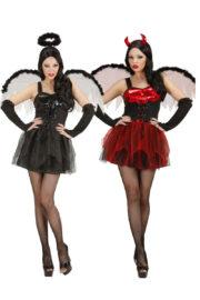 déguisement halloween femme, déguisement halloween à deux, déguisement couple halloween, déguisement d'ange noir, déguisement de diablesse, costumes halloween femme Déguisement Couple de Diablesse et Ange Noir