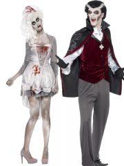 déguisement à deux halloween, déguisement couple halloween, déguisement de vampire halloween, costume femme halloween, costume homme halloween, costume couple halloween, déguisement de vampire adulte Déguisement Couple de Vampire et Géorgienne