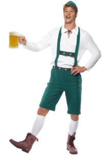 déguisement bavarois homme, costume bavarois homme, déguisement tyrolien homme, costume tyrolien homme, salopette bavaroise déguisement, déguisement homme, déguisement fête de la bière, déguisement oktoberferst, Déguisement Bavarois Oktoberfest, Salopette Verte et Chemise
