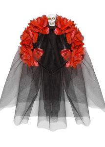 accessoire jour des morts halloween, couronne fleurs jour des morts déguisement, serre tête jour des morts déguisement, accessoire halloween, déguisement halloween jour des morts femme, Voile et Fleurs Rouges Jour des Morts