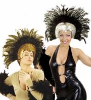 coiffe brésilienne, accessoire carnaval de rio, coiffe de carnaval, coiffure brésilienne, accessoire déguisement, déguisement brésilienne, coiffe brésilienne à plumes Coiffe Brésilienne, Or ou Argent