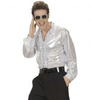 chemise disco fever, chemise disco homme, costume disco homme, déguisement disco homme, accessoire disco déguisement, chemise argent homme, chemise dorée homme, chemise années 70 homme, déguisement années 70 homme, costume années 70 homme Déguisement Disco 80, Chemise Froufrous Argent