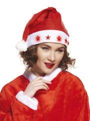 bonnet Père Noël, bonnet de noel, chapeau de noel, bonnet de père noel, bonnet noel lumineux, bonnet noel clignotant, bonnet de pere noel, accessoire pere noel déguisement, bonnet rouge noel, bonnet classique noel, bonnet original pere noel, bonnet pere noel clignotant Bonnet de Père Noël, avec Etoiles Lumineuses