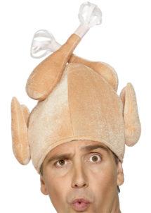 chapeau humour, chapeau dinde de noel, chapeau poulet, bonnet de noel original, chapeau thanksgiving, bonnet de poulet, bonnet de dinde, accessoire noel déguisement, accessoire déguisement noel, chapeau humoristique, Chapeau Dinde de Noël, ou Poulet Rôti