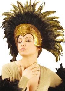 coiffe brésilienne, accessoire carnaval de rio, coiffe de carnaval, coiffure brésilienne, accessoire déguisement, déguisement brésilienne, coiffe brésilienne à plumes, Coiffe Brésilienne, Dorée