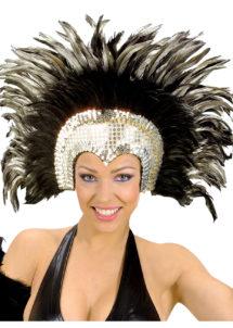 coiffe brésilienne, accessoire carnaval de rio, coiffe de carnaval, coiffure brésilienne, accessoire déguisement, déguisement brésilienne, coiffe brésilienne à plumes, Coiffe Brésilienne, Argent