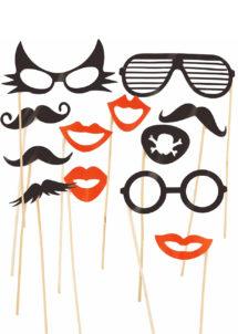 kit Photo Booth, moustaches pour photos, accessoire déguisement photos, accessoires déguisements, Kit Photo Booth, Accessoires Rouges et Noirs