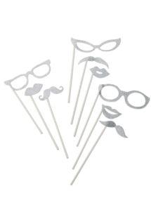 kit Photo Booth, moustaches pour photos, accessoire déguisement photos, accessoires déguisements, Kit Photo Booth, Accessoires Glitter Argent