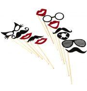 kit Photo Booth, moustaches pour photos, accessoire déguisement photos, accessoires déguisements Kit Photo Booth, Accessoires Rouges et Noirs