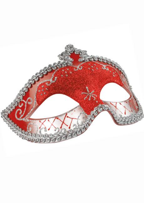 masque vénitien, loup vénitien, masque carnaval de Venise, masque vénitien rouge, Loup Corona, Paillettes Rouges et Argent