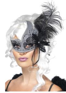 masque vénitien plumes, loup vénitien plumes, masque vénitien avec plume, masque carnaval de venise, Loup Dark Angel, avec Plumes