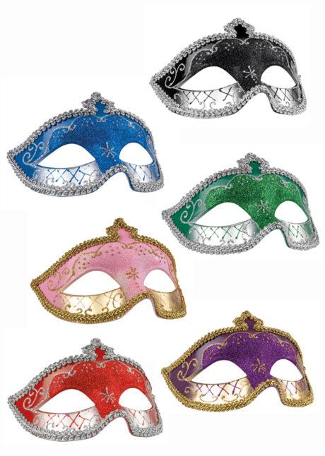 masque vénitien, loup vénitien, masque carnaval de Venise, masque vénitien doré, Loup Corona, Paillettes Vertes et Argent