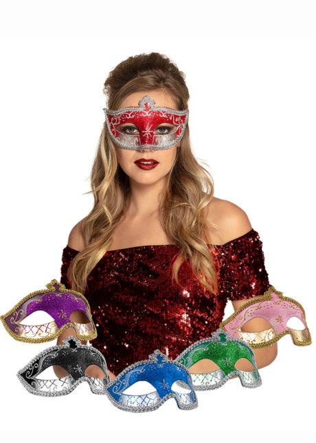 masque vénitien, loup vénitien, masque carnaval de Venise, masque vénitien paillettes, Loup Corona, Paillettes Vertes et Argent