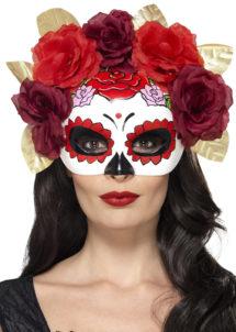 masque squelette mexicain, masque de déguisement, masque mexicain halloween, masque déguisement halloween, accessoire déguisement halloween masque, masque en papier maché, masque dia de la muerte, masque halloween, masque halloween day of death, déguisement jour des morts, masque jour de morts adulte, masque halloween femme, Loup Jour des Morts, Squelette Mexicain, Fleurs Rouges