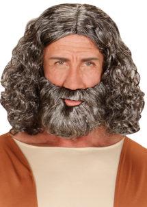 perruque avec barbe, perruque homme, perruque jésus, perruque grise homme, perruque cheveux longs homme, Perruque + Barbe, Biblique