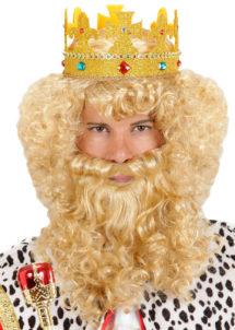 perruque pour homme, perruque pas chère, perruque de déguisement, perruque homme, perruque blonde, perruque louis XIV, perruque versailles, perruque de roi, Perruque de Roi avec Barbe, Blonde