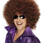 perruque afro disco, accessoire perruque déguisement, perruque afro disco, perruque pour homme, perruque pas chère, perruque de déguisement, perruque homme, perruque châtain, perruque afro Perruque Afro Huge, Disco, Châtain