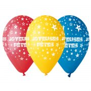 ballon hélium, ballon de baudruche, ballon en latex, ballon de fête, ballon étoiles, ballons argenté, ballons réveillons Ballon Joyeuses Fêtes, en Latex