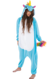 kigurumi, déguisement kigurumi, kigurumi licorne bleue, pyjama kigurumi, pyjama licorne bleue, déguisement kigurumi licorne Déguisement Kigurumi Licorne, Bleue, Queue Multicolore