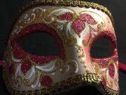 masque vénitien, loup vénitien, masque carnaval de venise, masque vénitien déguisement, accessoire déguisement carnaval de venise, déguisement carnaval de venise, masque vénitien fait main Vénitien, Civette Luxe, Rouge