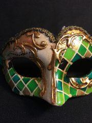 masque vénitien, loup vénitien, masque carnaval de venise, véritable masque vénitien, accessoire carnaval de venise, déguisement carnaval de venise, loup vénitien fait main Vénitien, Civette Mini, Mosaïque Verte