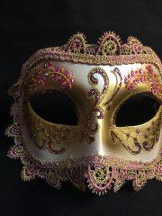 masque vénitien, loup vénitien, masque carnaval de venise, véritable masque vénitien, accessoire carnaval de venise, déguisement carnaval de venise, loup vénitien fait main Vénitien, Civette Giada, Rose